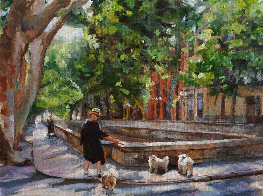 Original art for sale at UGallery.com | Dog Walker in Nimes by Jonelle Summerfield | $625 | oil painting | 12' h x 16' w | ..\art\oil-painting-Dog-Walker-in-Nimes