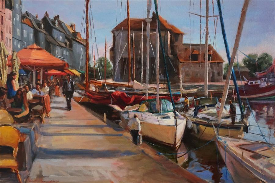 Original art for sale at UGallery.com   Honfleur Promenade by Jonelle Summerfield   $1,800   oil painting   24' h x 36' w   ..\art\oil-painting-Honfleur-Promenade