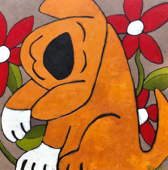 Original art for sale at UGallery.com   Smiley by Jaime Ellsworth   $3,175   oil painting   40' h x 40' w   ..\art\oil-painting-Smiley