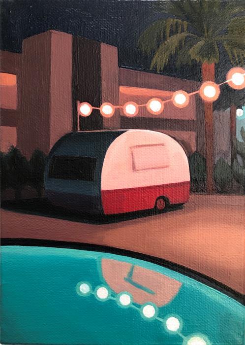 Original art for sale at UGallery.com | Poolside Caravan by Hadley Northrop | $275 | oil painting | 7' h x 5' w | ..\art\oil-painting-Poolside-Caravan