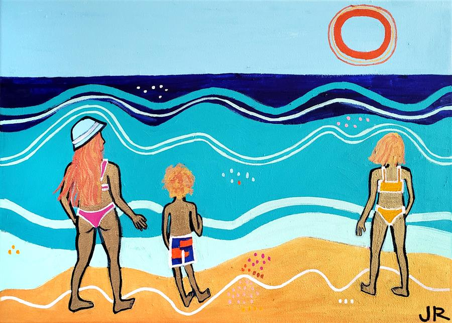 Original art for sale at UGallery.com | Beach Scene by Jessica JH Roller | $1,175 | acrylic painting | 20' h x 28' w | ..\art\acrylic-painting-Beach-Scene