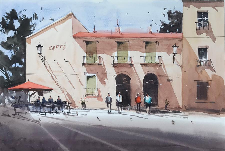 Original art for sale at UGallery.com | The Cafe in Shade by Swarup Dandapat | $750 | watercolor painting | 15' h x 22' w | ..\art\watercolor-painting-The-Cafe-in-Shade