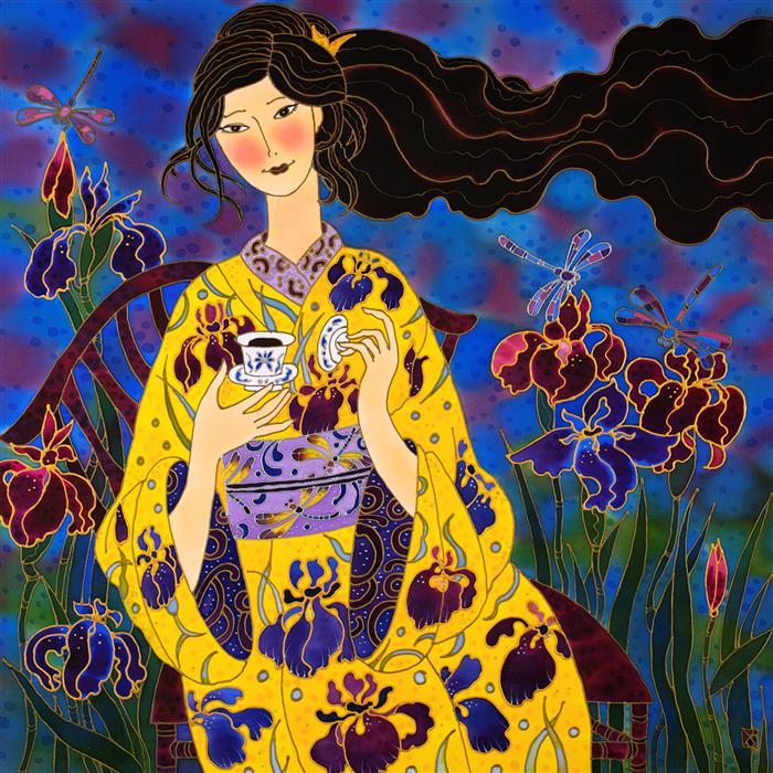 Original art for sale at UGallery.com   Iris Tea and Iris Kimono by Yelena Sidorova   $1,800   mixed media artwork   30' h x 30' w   ..\art\mixed-media-artwork-Iris-Tea-and-Iris-Kimono