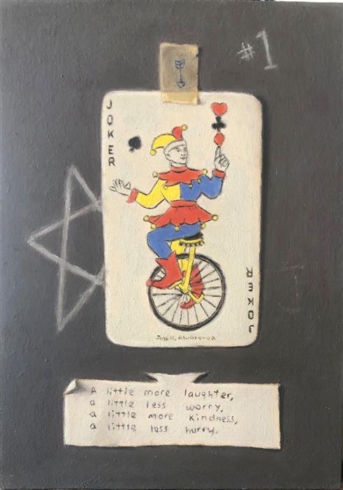 Original art for sale at UGallery.com | The Joker 2 by Jose H. Alvarenga | $350 | oil painting | 7' h x 5' w | ..\art\oil-painting-The-Joker-2
