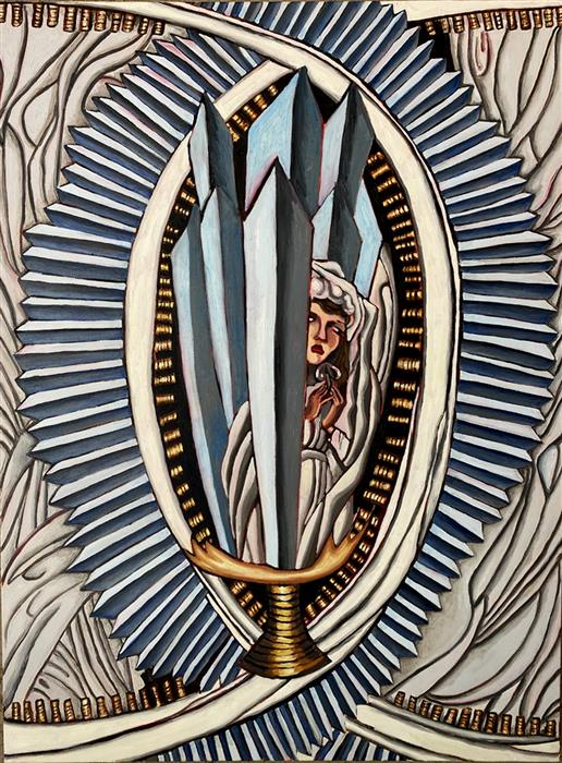 Original art for sale at UGallery.com | Ace of Swords by Rachel Srinivasan | $1,600 | oil painting | 48' h x 36' w | ..\art\oil-painting-Ace-of-Swords