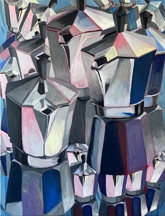 Original art for sale at UGallery.com | Reflections Moka by Rachel Srinivasan | $1,225 | oil painting | 40' h x 30' w | ..\art\oil-painting-Reflections-Moka