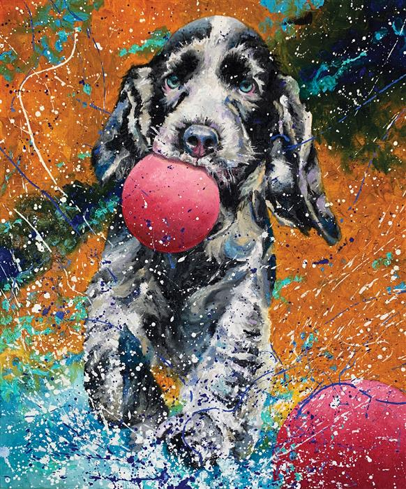 Original art for sale at UGallery.com   Play Pal by Jeff Fleming   $650   oil painting   24' h x 20' w   ..\art\oil-painting-Play-Pal