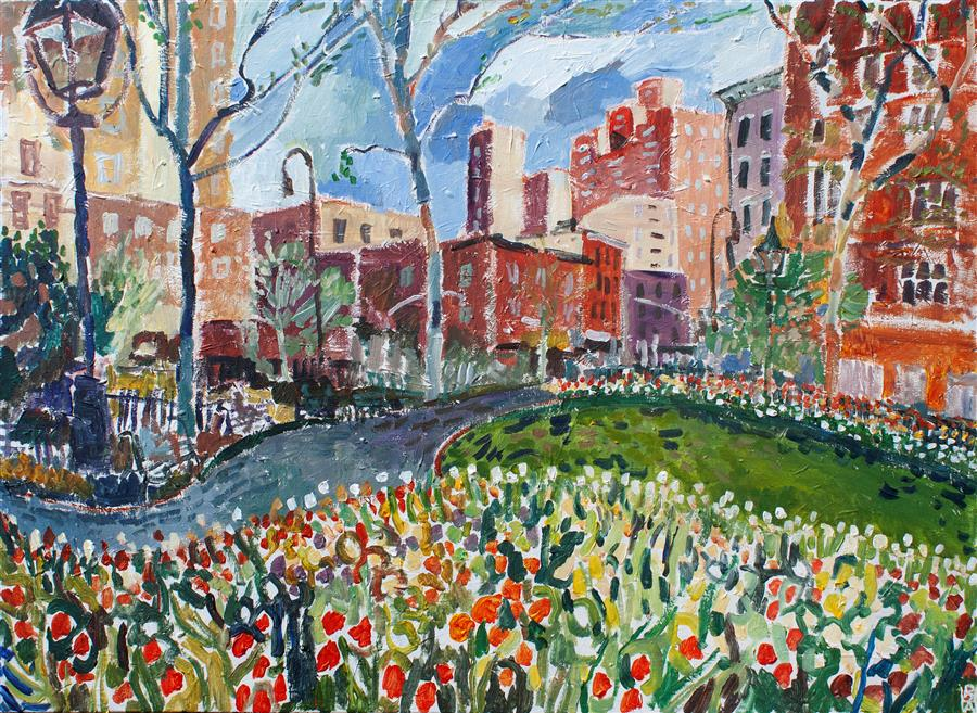 Original art for sale at UGallery.com | Greenwich Village by Robert Hofherr | $2,125 | acrylic painting | 30' h x 40' w | ..\art\acrylic-painting-Greenwich-Village