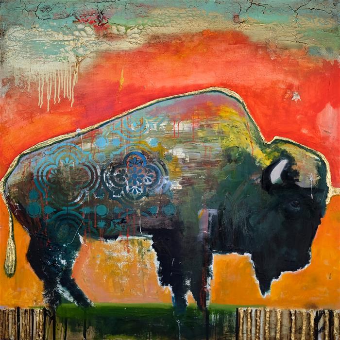 Original art for sale at UGallery.com | Vibrant Sky Bison by Scott Dykema | $5,400 | mixed media artwork | 48' h x 48' w | ..\art\mixed-media-artwork-Vibrant-Sky-Bison