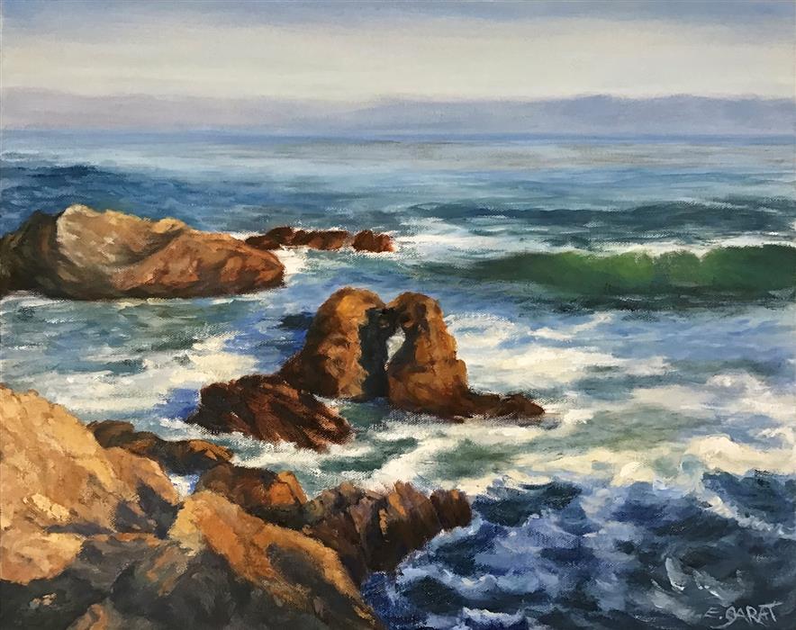 Original art for sale at UGallery.com | Cayucos Coastline No. 1 by Elizabeth Garat | $825 | oil painting | 16' h x 20' w | ..\art\oil-painting-Cayucos-Coastline-No-1