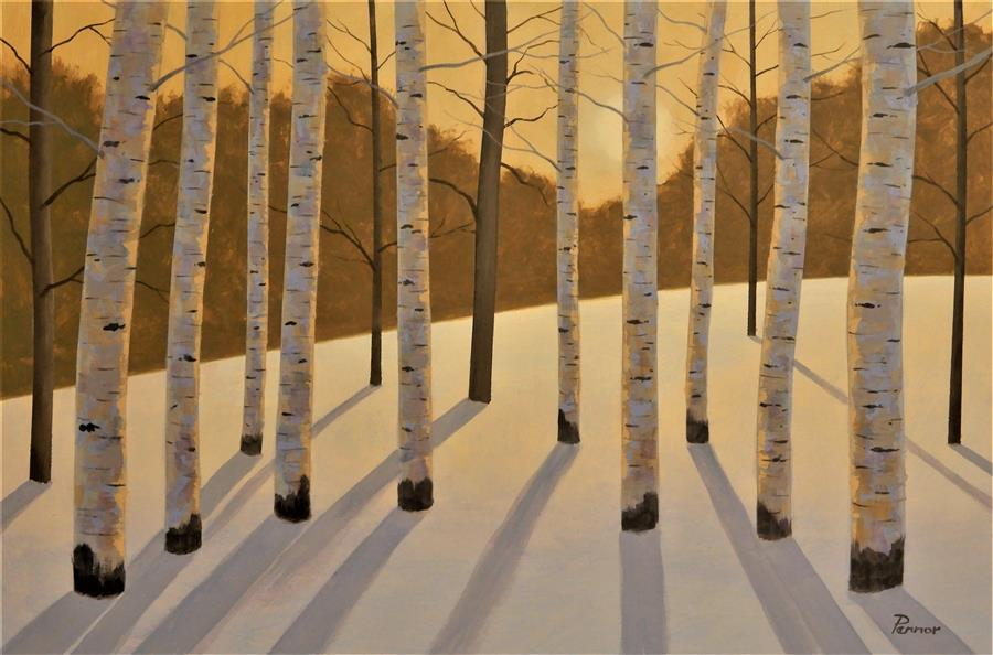 Original art for sale at UGallery.com | Evening Glow Aspens by Robert Pennor | $1,375 | acrylic painting | 24' h x 36' w | ..\art\acrylic-painting-Evening-Glow-Aspens