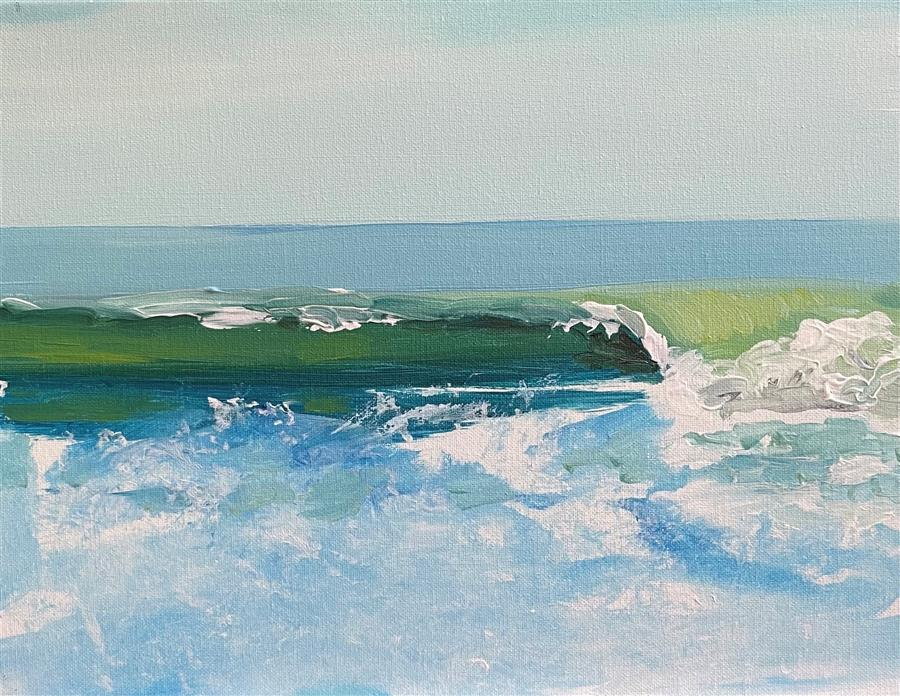 Original art for sale at UGallery.com | Summer Surf by Patricia Fabian | $900 | acrylic painting | 12' h x 16' w | ..\art\acrylic-painting-Summer-Surf