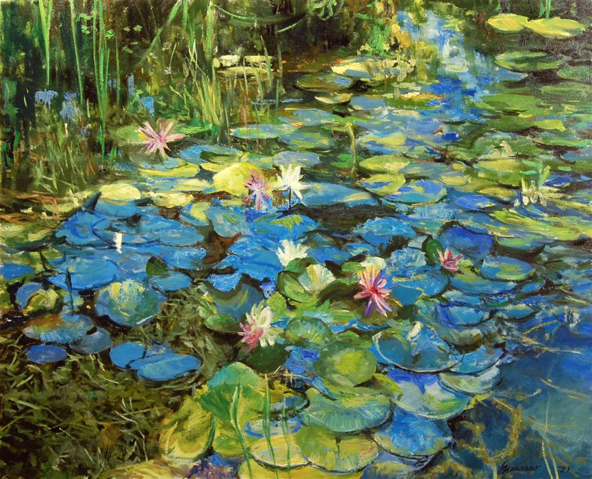 Original art for sale at UGallery.com | Mixed Water Lilies Spotted Sunlight by Onelio Marrero | $1,975 | oil painting | 24' h x 30' w | ..\art\oil-painting-Mixed-Water-Lilies-Spotted-Sunlight