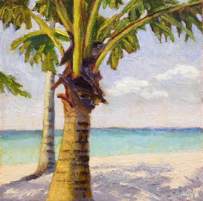 Original art for sale at UGallery.com   Beach Palm by Pat Doherty   $575   oil painting   12' h x 12' w   ..\art\oil-painting-Beach-Palm