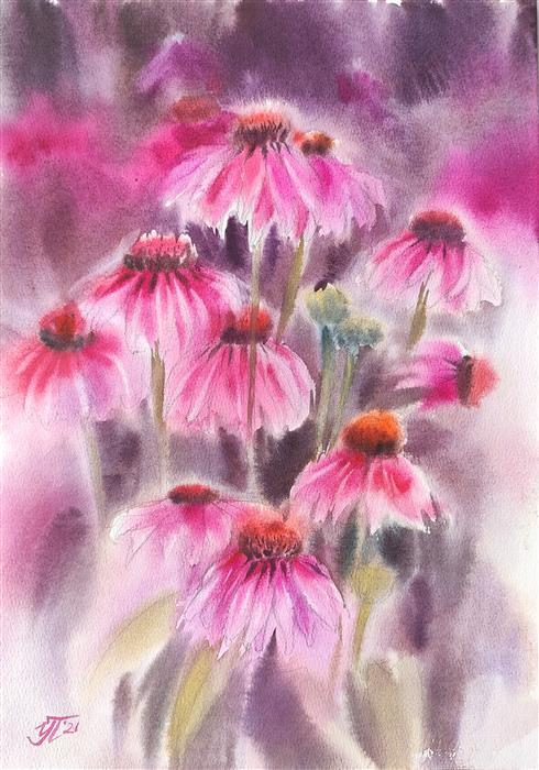 Original art for sale at UGallery.com | Fuchsia Fantasy by Irina Pronina | $500 | watercolor painting | 15' h x 10' w | ..\art\watercolor-painting-Fuchsia-Fantasy