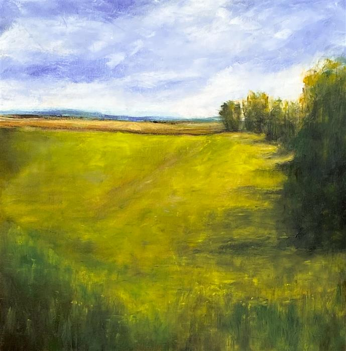 Original art for sale at UGallery.com   Dynamic Greens II by Mandy Main   $1,400   oil painting   30' h x 30' w   ..\art\oil-painting-Dynamic-Greens-II