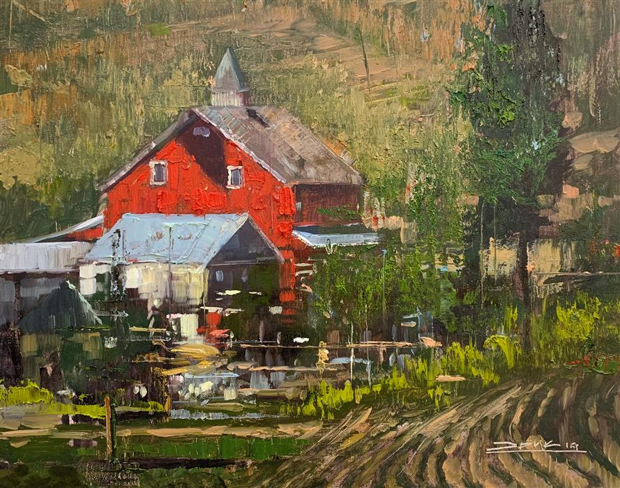 Original art for sale at UGallery.com   Red House by Eric Alfaro   $800   oil painting   16' h x 20' w   ..\art\oil-painting-Red-House-72060