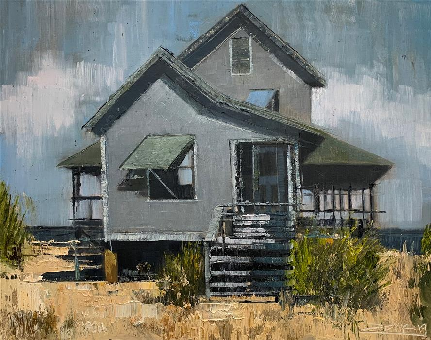 Original art for sale at UGallery.com | Beach House by Eric Alfaro | $800 | oil painting | 16' h x 20' w | ..\art\oil-painting-Beach-House