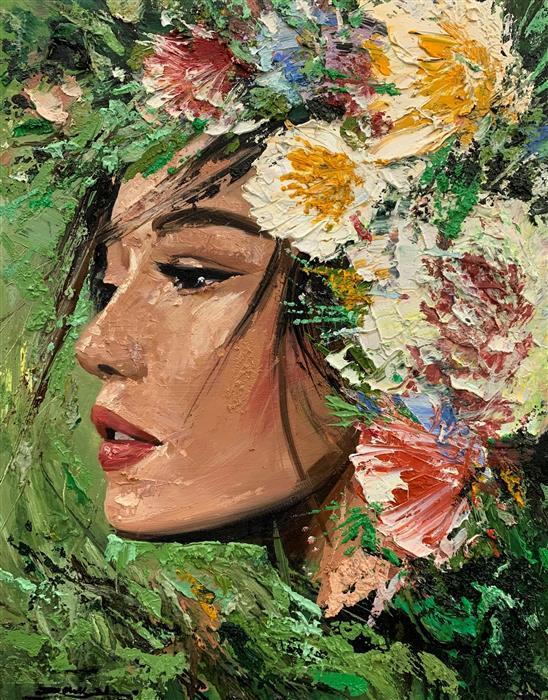 Original art for sale at UGallery.com | Vera by Eric Alfaro | $800 | oil painting | 20' h x 16' w | ..\art\oil-painting-Vera