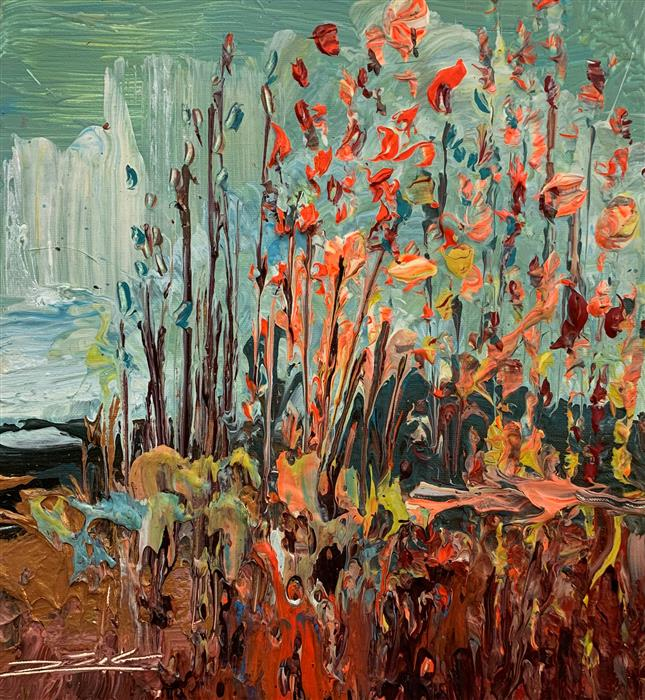 Original art for sale at UGallery.com | Orange Flowers by Eric Alfaro | $425 | acrylic painting | 13' h x 12' w | ..\art\acrylic-painting-Orange-Flowers