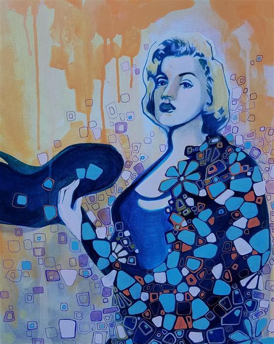 Original art for sale at UGallery.com | Woman With Attitude by Diana Elena Chelaru | $750 | acrylic painting | 20' h x 16' w | ..\art\acrylic-painting-Woman-With-Attitude