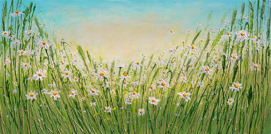 Original art for sale at UGallery.com | Dancing Daisies by Amanda Dagg | $1,075 | acrylic painting | 20' h x 40' w | ..\art\acrylic-painting-Dancing-Daisies-72086