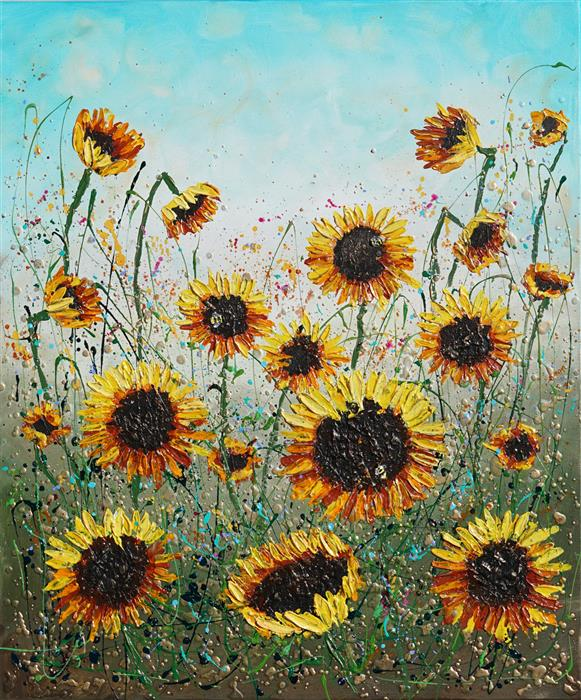 Original art for sale at UGallery.com   Sunflowers Joy by Amanda Dagg   $1,125   acrylic painting   36' h x 30' w   ..\art\acrylic-painting-Sunflowers-Joy