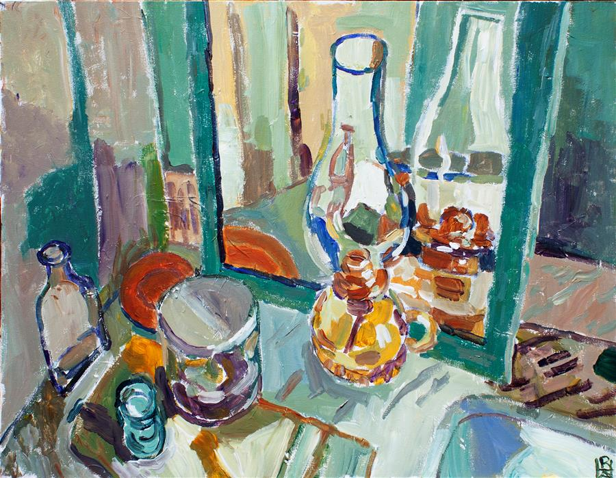 Original art for sale at UGallery.com   Still Life with Mirror by Robert Hofherr   $1,000   acrylic painting   22' h x 28' w   ..\art\acrylic-painting-Still-Life-with-Mirror