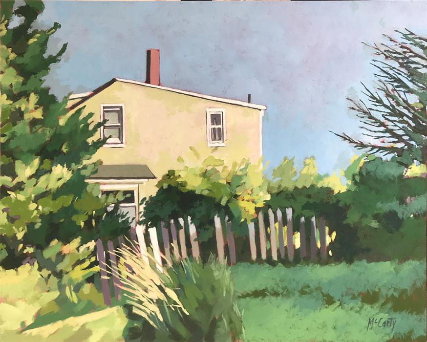 Original art for sale at UGallery.com | House with Gate by Brian McCarty | $575 | oil painting | 22' h x 28' w | ..\art\oil-painting-House-with-Gate