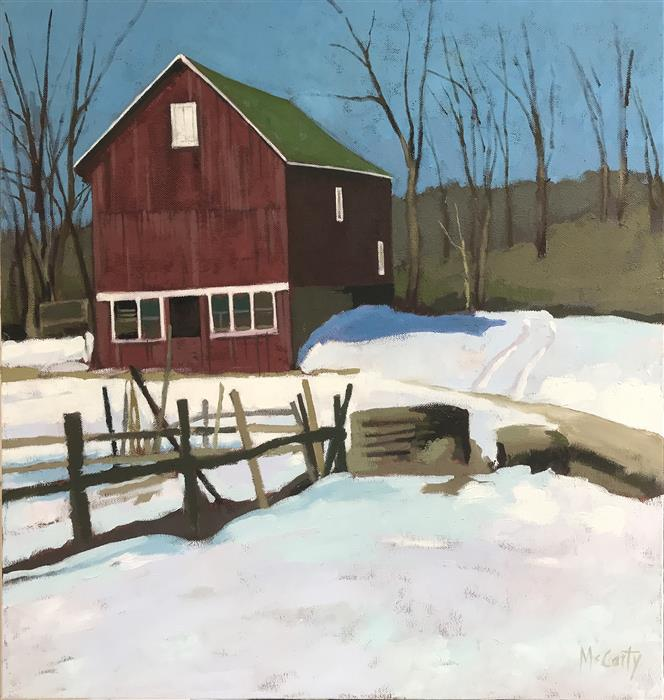 Original art for sale at UGallery.com | House in Winter by Brian McCarty | $550 | oil painting | 20' h x 20' w | ..\art\oil-painting-House-in-Winter