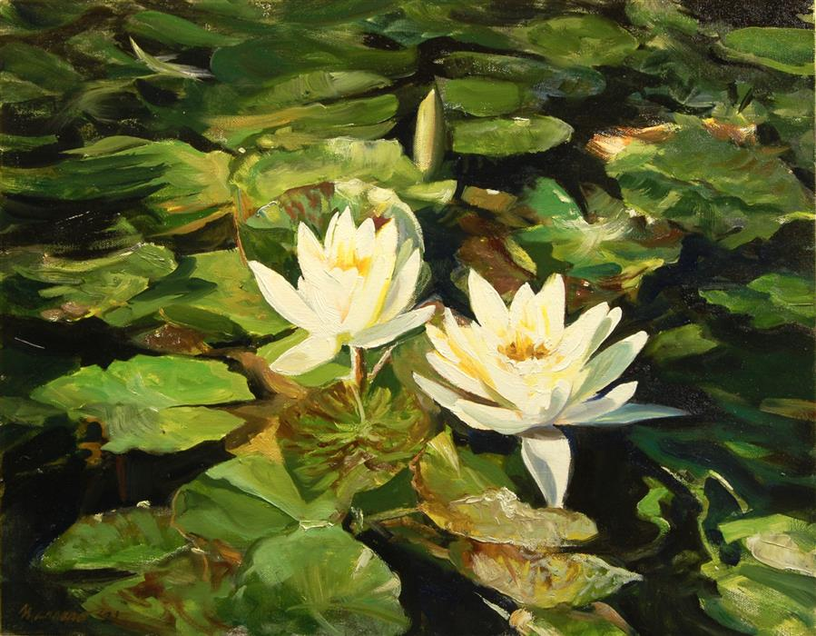 Original art for sale at UGallery.com | Early Morning Light on Water Lilies by Onelio Marrero | $1,000 | oil painting | 16' h x 20' w | ..\art\oil-painting-Early-Morning-Light-on-Water-Lilies