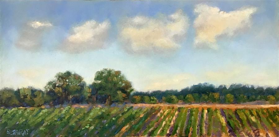 Original art for sale at UGallery.com | Sunday Afternoon, Delta Farmland by Elizabeth Garat | $725 | oil painting | 10' h x 20' w | ..\art\oil-painting-Sunday-Afternoon-Delta-Farmland