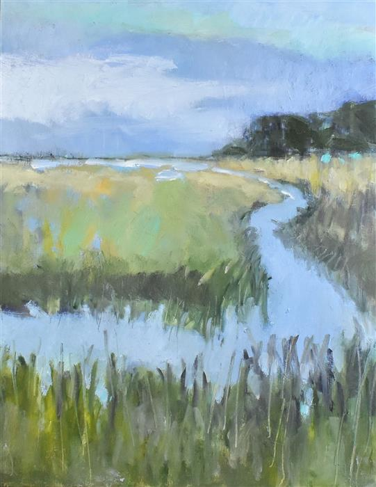 Original art for sale at UGallery.com | A Day In The Marsh by Mary Pratt | $1,375 | oil painting | 30' h x 24' w | ..\art\oil-painting-A-Day-In-The-Marsh