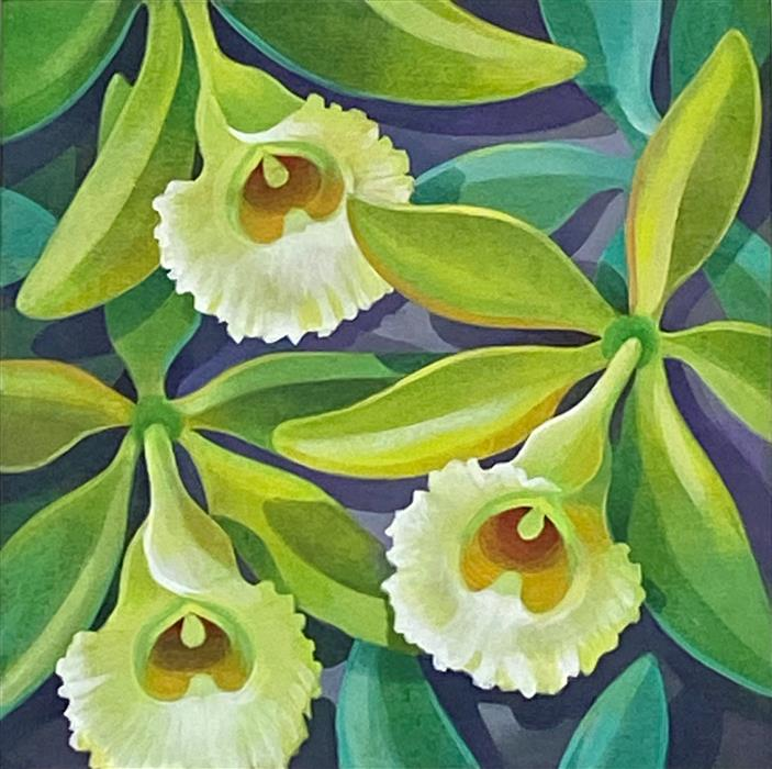 Original art for sale at UGallery.com | Vanilla Orchid by Johnny Karwan | $475 | acrylic painting | 12' h x 12' w | ..\art\acrylic-painting-Vanilla-Orchid