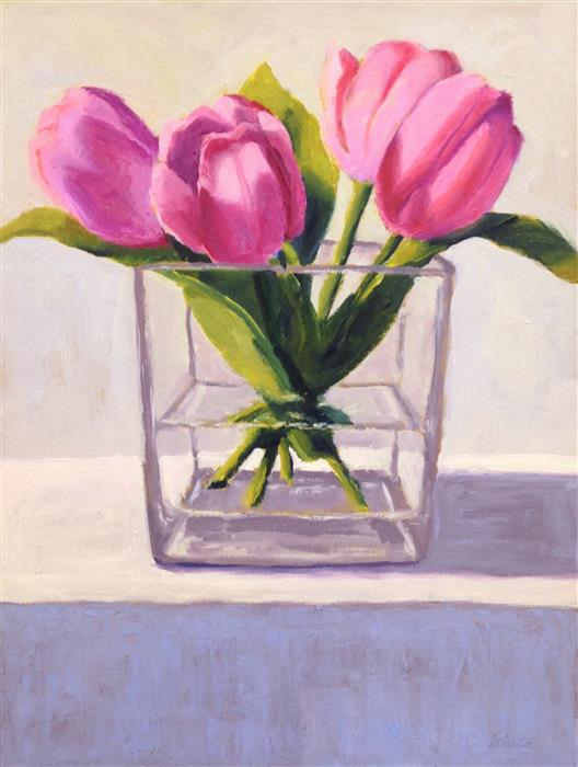 Original art for sale at UGallery.com   Pink Tulips by Pat Doherty   $475   oil painting   16' h x 12' w   ..\art\oil-painting-Pink-Tulips