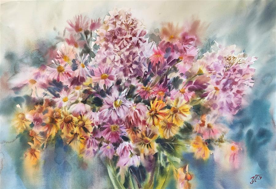 Original art for sale at UGallery.com | Autumn Bouquet by Irina Pronina | $1,300 | watercolor painting | 21' h x 30' w | ..\art\watercolor-painting-Autumn-Bouquet