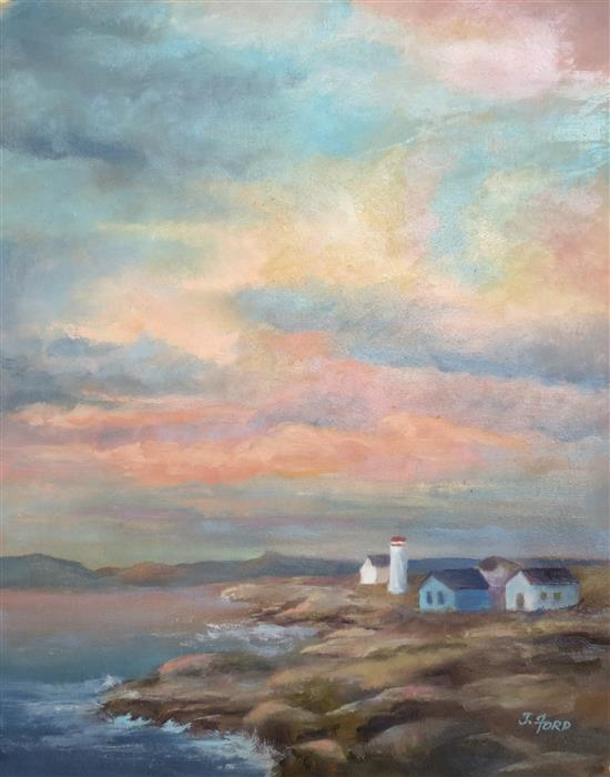 Original art for sale at UGallery.com | Colorful Sky over Rocky Coast by Joanie Ford | $275 | oil painting | 14' h x 11' w | ..\art\oil-painting-Colorful-Sky-over-Rocky-Coast