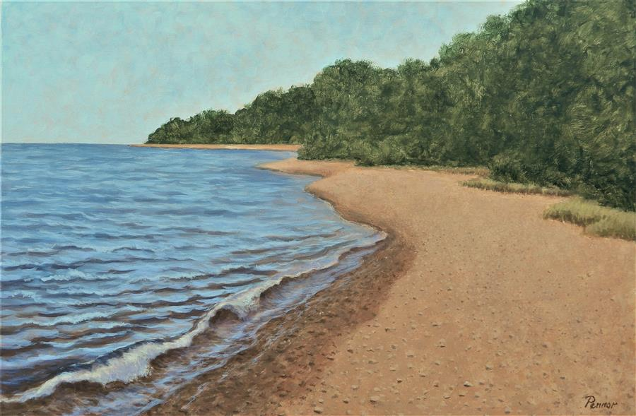 Original art for sale at UGallery.com   Lake Shore Calm by Robert Pennor   $1,400   acrylic painting   24' h x 36' w   ..\art\acrylic-painting-Lake-Shore-Calm