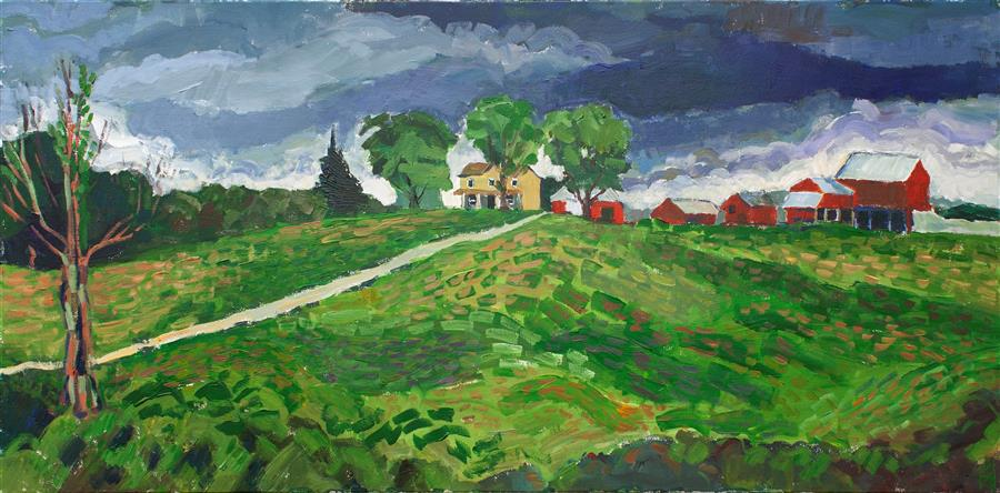 Original art for sale at UGallery.com | Late Summer Storm by Robert Hofherr | $2,350 | acrylic painting | 24' h x 48' w | ..\art\acrylic-painting-Late-Summer-Storm
