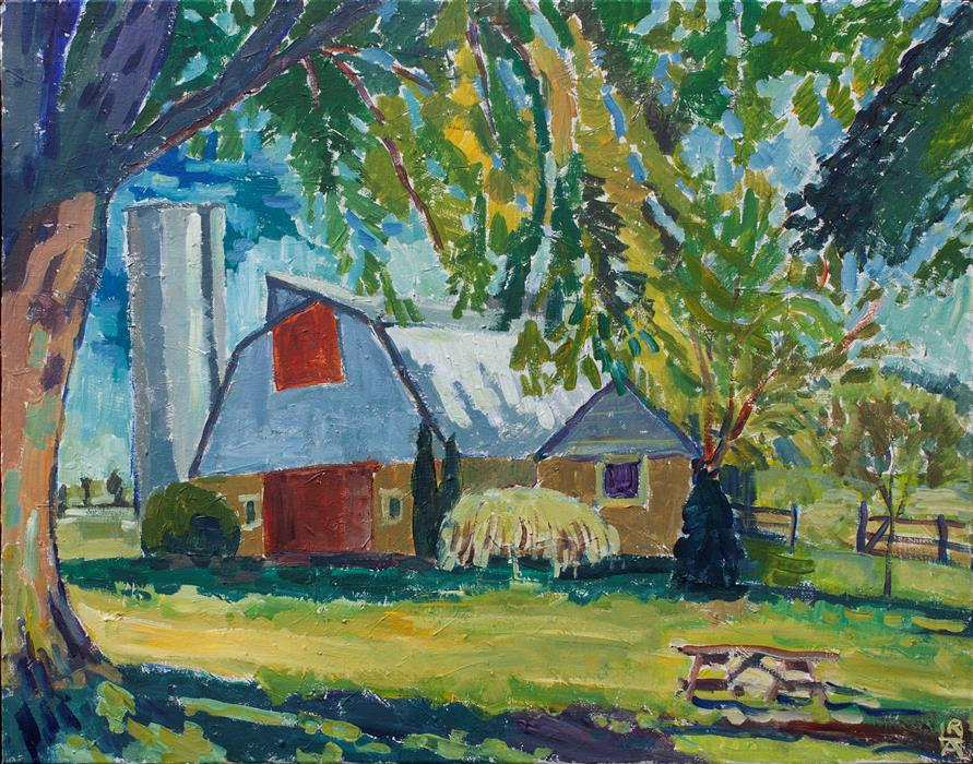 Original art for sale at UGallery.com   Barn in Early Fall by Robert Hofherr   $1,425   acrylic painting   24' h x 30' w   ..\art\acrylic-painting-Barn-in-Early-Fall
