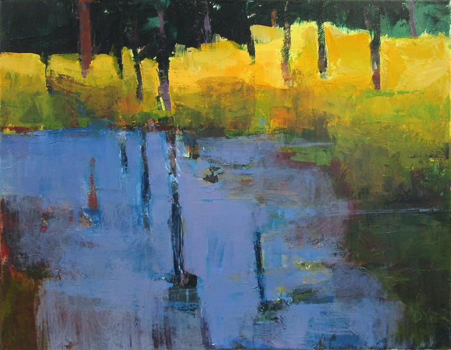 Original art for sale at UGallery.com | Blue Pond by Janet Dyer | $625 | acrylic painting | 14' h x 18' w | ..\art\acrylic-painting-Blue-Pond-72136