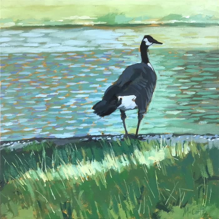 Original art for sale at UGallery.com | Gray Goose by Brian McCarty | $550 | oil painting | 20' h x 20' w | ..\art\oil-painting-Gray-Goose