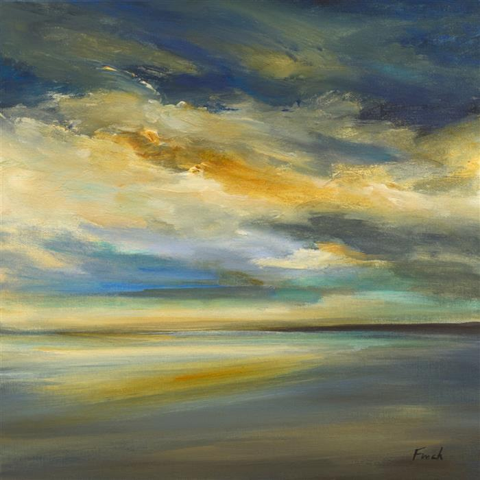 Original art for sale at UGallery.com   Golden Light along the Shore by Sheila Finch   $925   acrylic painting   14' h x 14' w   ..\art\acrylic-painting-Golden-Light-along-the-Shore
