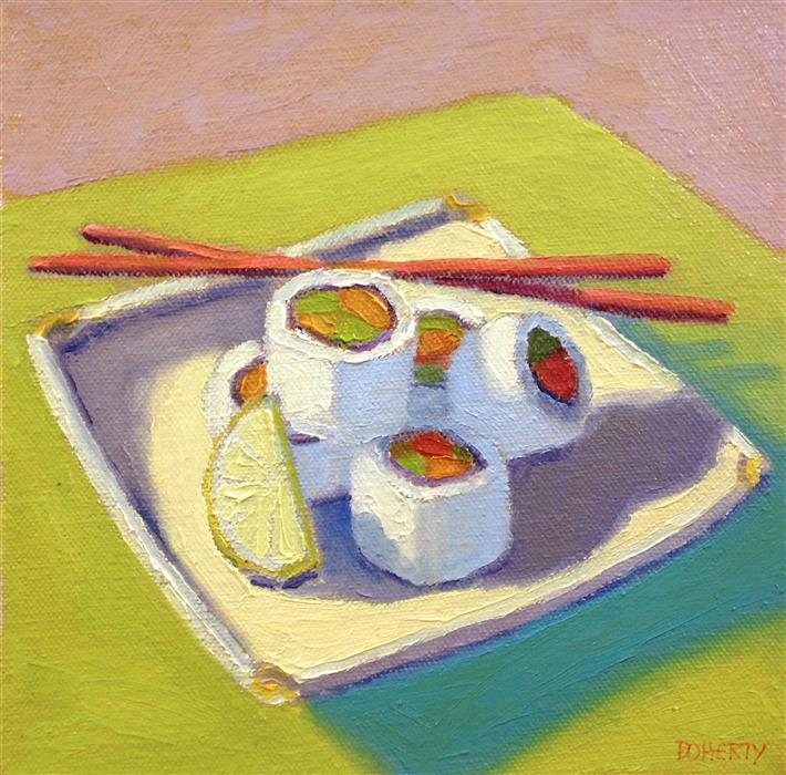 Original art for sale at UGallery.com | Five Sushi Rolls by Pat Doherty | $450 | oil painting | 8' h x 8' w | ..\art\oil-painting-Five-Sushi-Rolls