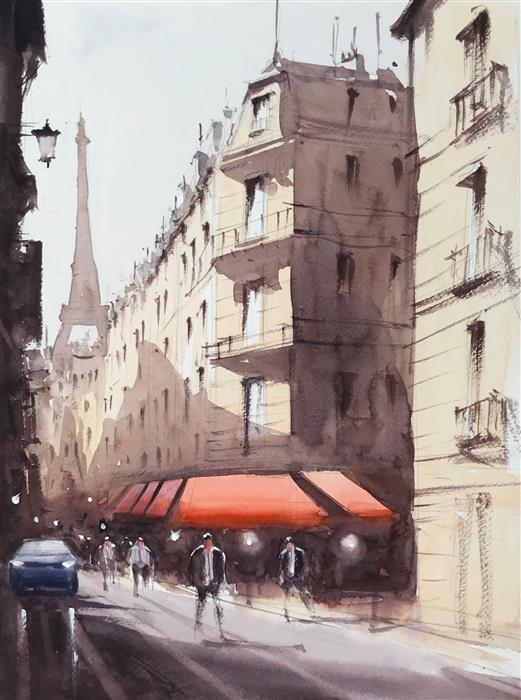 Original art for sale at UGallery.com | Hello Paris by Swarup Dandapat | $550 | watercolor painting | 15' h x 11' w | ..\art\watercolor-painting-Hello-Paris