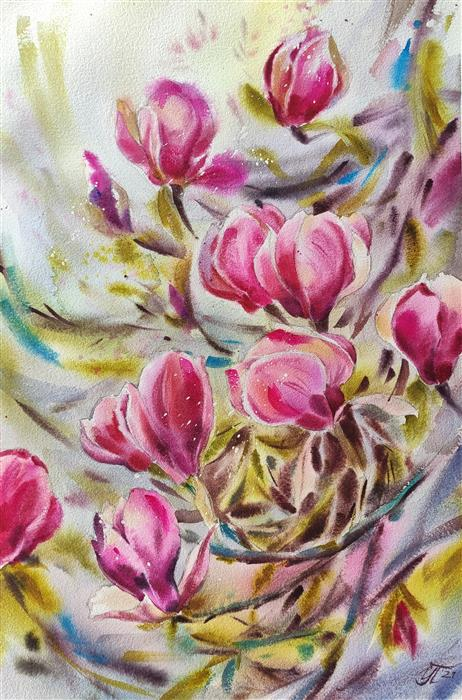 Original art for sale at UGallery.com | Wild Magnolia by Irina Pronina | $925 | watercolor painting | 21' h x 15' w | ..\art\watercolor-painting-Wild-Magnolia