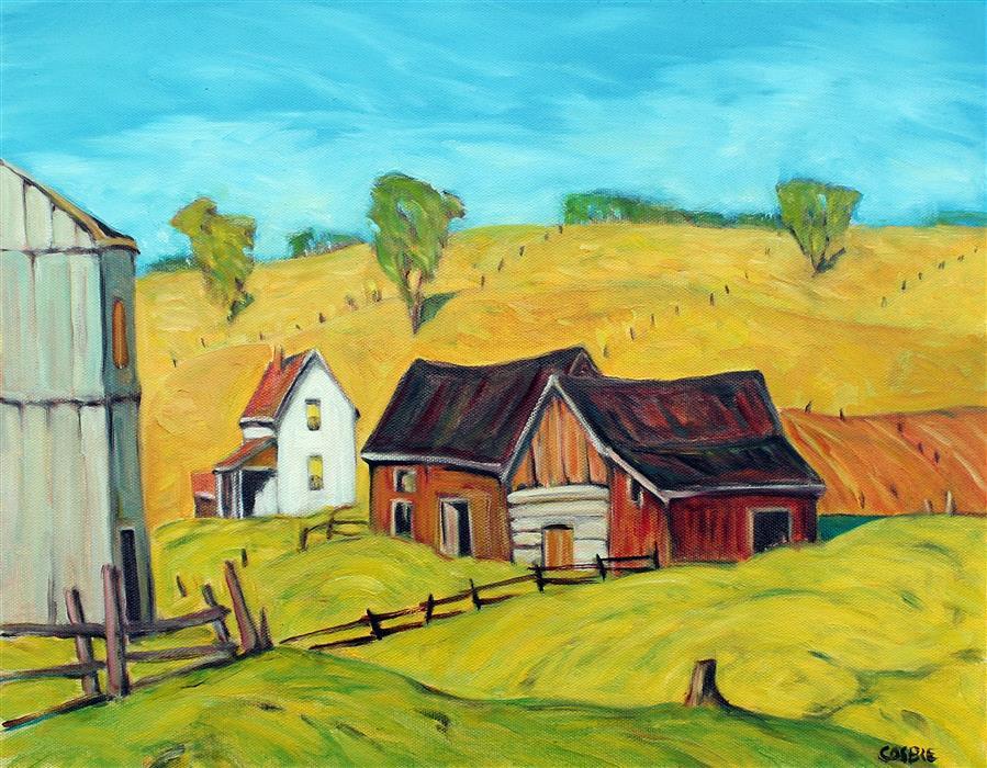 Original art for sale at UGallery.com | White Farmhouse, Berks County Pennsylvania by Doug Cosbie | $425 | oil painting | 14' h x 18' w | ..\art\oil-painting-White-Farmhouse-Berks-County-Pennsylvania