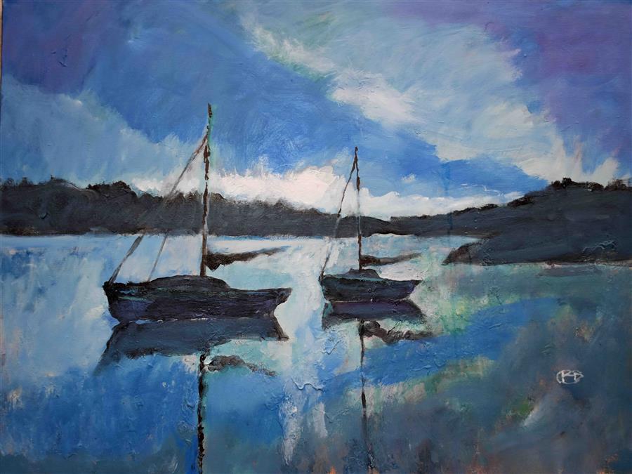 Original art for sale at UGallery.com | Blue Dawn by Kip Decker | $2,575 | acrylic painting | 30' h x 40' w | ..\art\acrylic-painting-Blue-Dawn