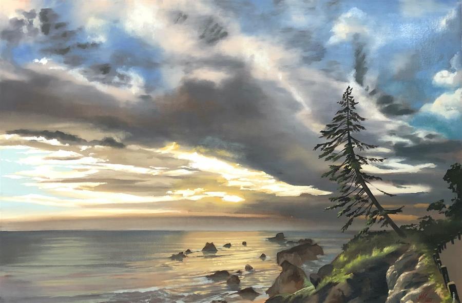Original art for sale at UGallery.com | The Vigil by Jesse Aldana | $1,400 | oil painting | 24' h x 36' w | ..\art\oil-painting-The-Vigil