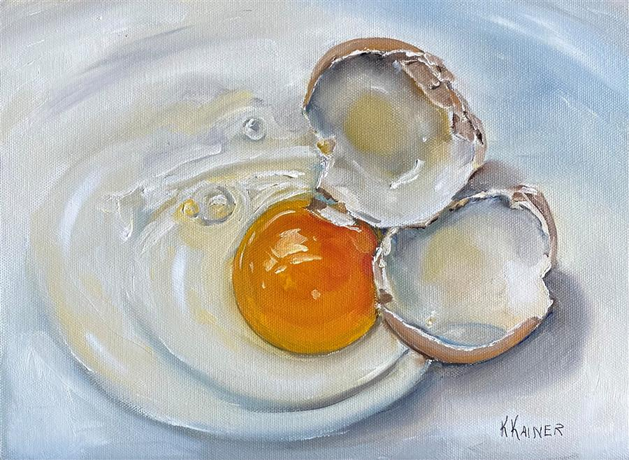 Original art for sale at UGallery.com | Cracked Brown Egg by Kristine Kainer | $675 | oil painting | 9' h x 12' w | ..\art\oil-painting-Cracked-Brown-Egg